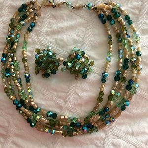 Vintage Vogue crystal choker necklace and earrings